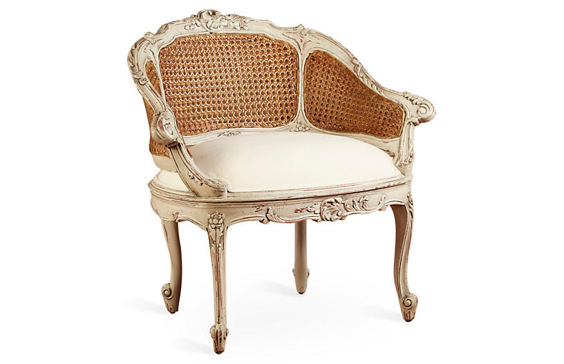 Wicker-Back Slipper Chair, Parchment/Cream Linen