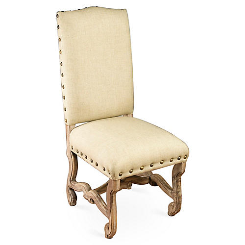 Harrison Side Chair, Natural/Ivory Linen