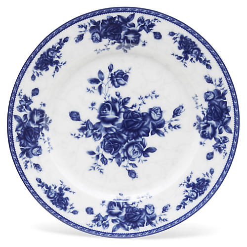 "11"" Rose Plate, Blue/White"