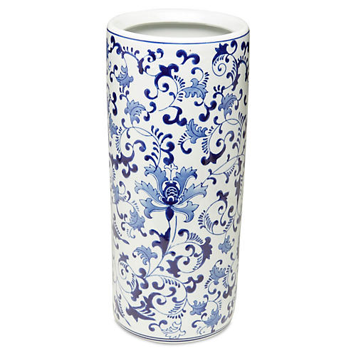 "18"" Floral Umbrella Stand, Blue/White"