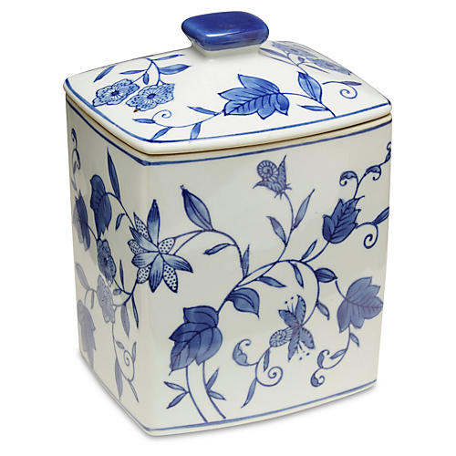 "8"" Paget Canister, Blue/White"