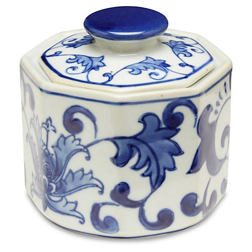 S/3 Small Paget Jars, Blue/White