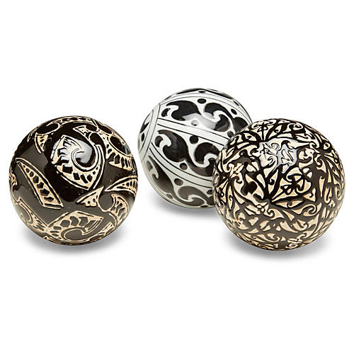 Asst. of 3 Geometric Orbs, Black/Cream