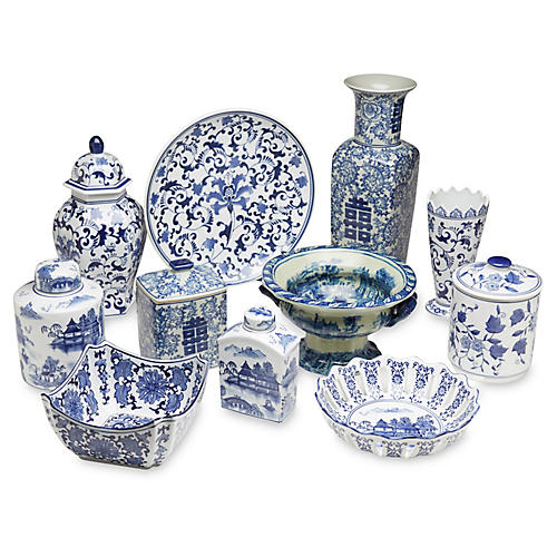 Asst. of 11 Porcelain III Accents, Blue/White