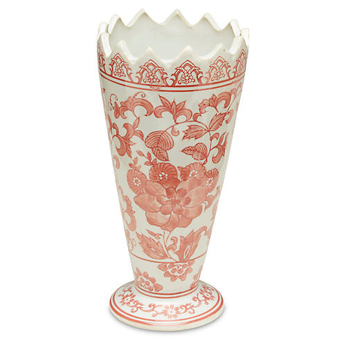 Chinoiserie Red & White Sawtooth Vase