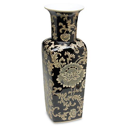 """17"""" Black & Cream Floral Square Vase"""
