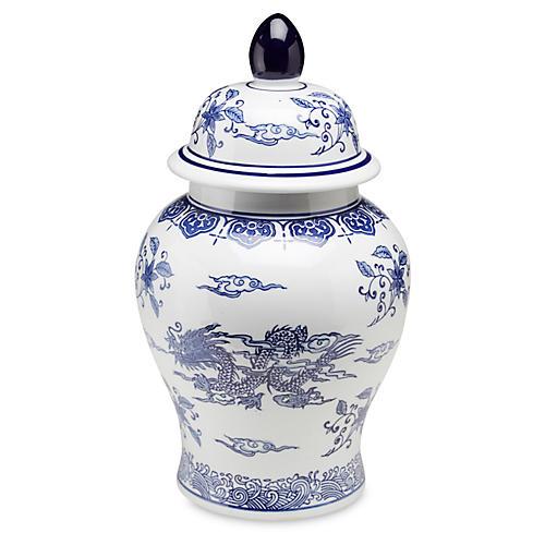 """18"""" Dragon Ginger Jar, Blue/White"""