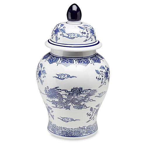 "18"" Dragon Ginger Jar, Blue/White"