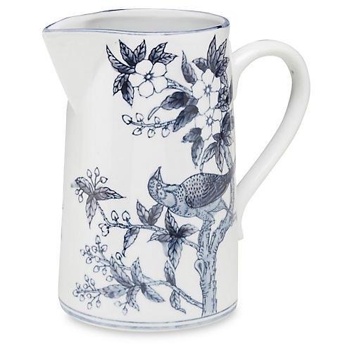 """10"""" Ceramic Bird Pitcher, Blue/White"""