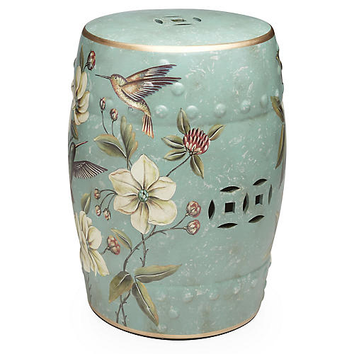 Irving Garden Stool, Light Blue