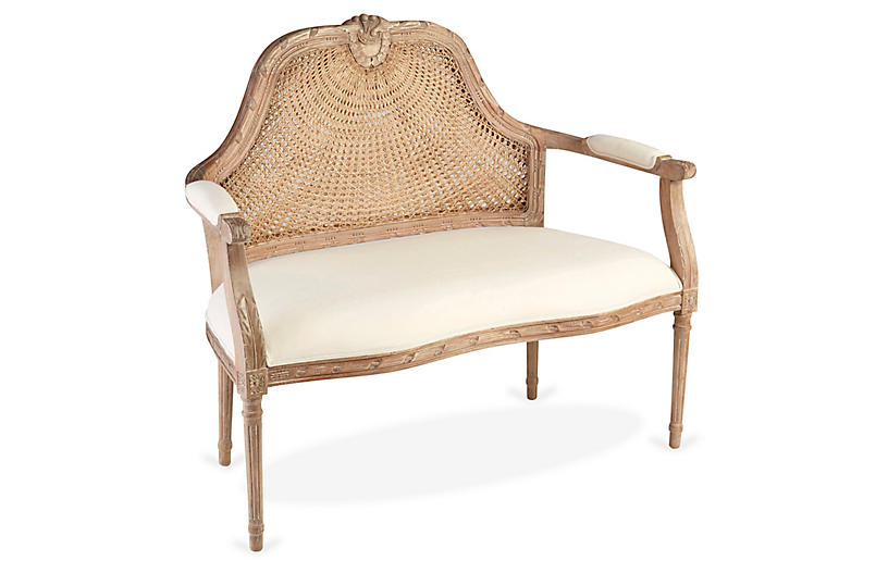 Serena Cane Settee, Natural/Off-White Linen
