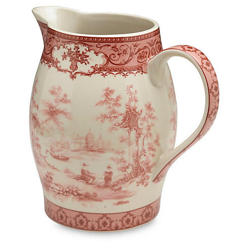 Chinoiserie Lake Decorative Pitcher, Red