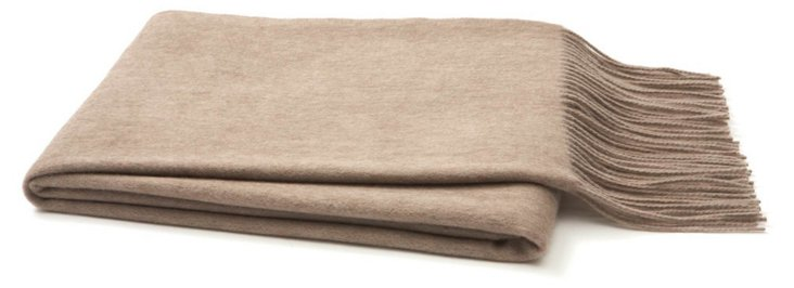 Brushed Cashmere Throw, Sand