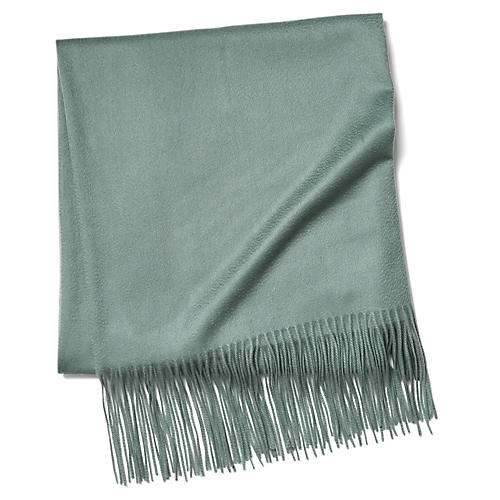 Solid Cashmere Throw, Spa Green