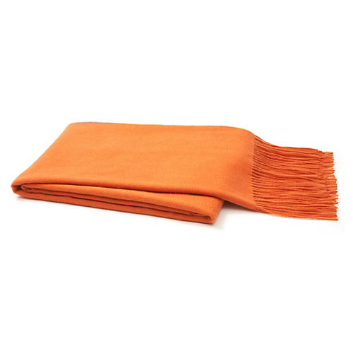 Cashmere-Blend Throw, Orange