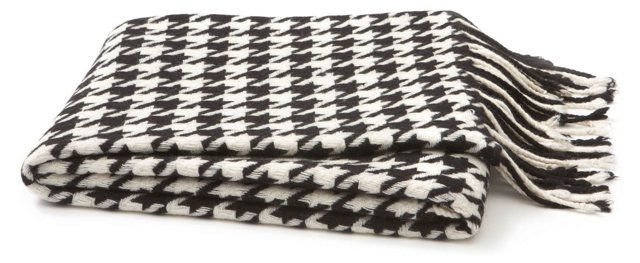 Houndstooth Wool Throw, Black/White
