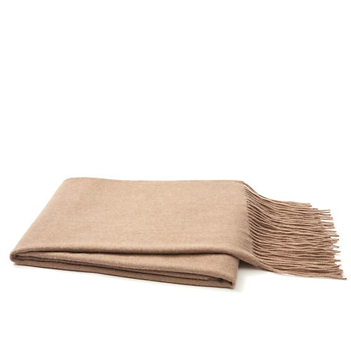 Cashmere-Blend Throw, Sand