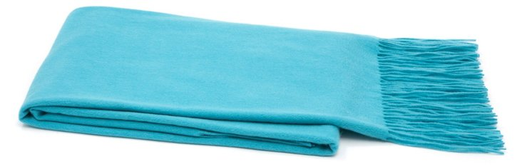 Solid Cashmere Throw, Turquoise