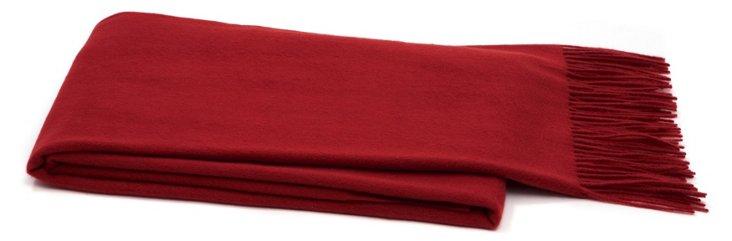 Solid Cashmere Throw, Crimson