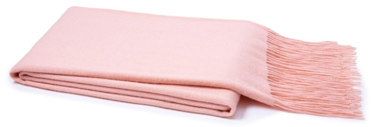 Solid Cashmere Throw, Pink Blush