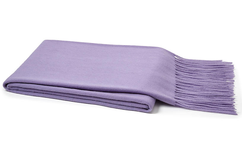 Solid Cashmere Throw, Lavender