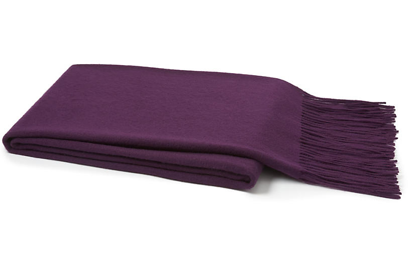 Solid Cashmere Throw - Purple