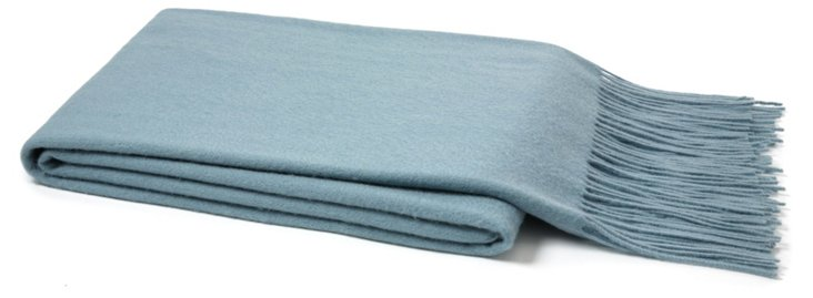 Solid Cashmere Throw, Lake Blue