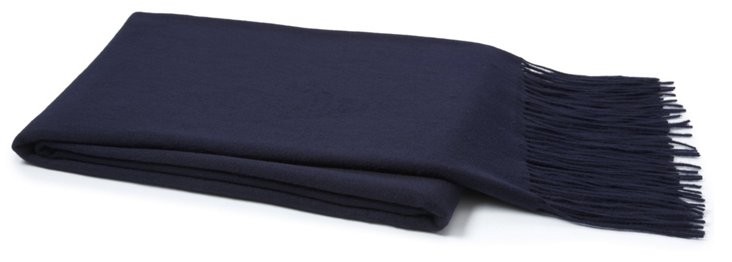 Solid Cashmere Throw, Navy