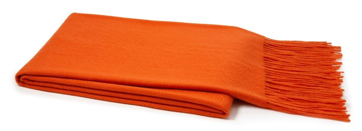 Cashmere & Wool Throw, Orange