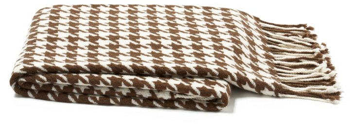 Houndstooth Throw, Cappuccino/Cream