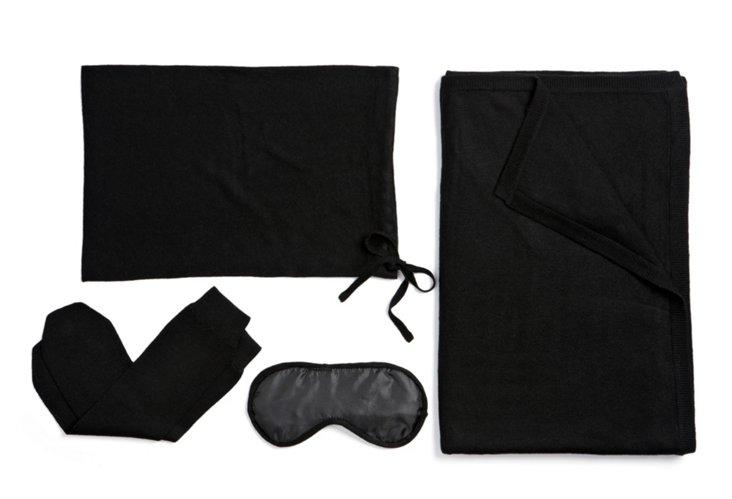 4-Piece Cashmere Travel Set, Black