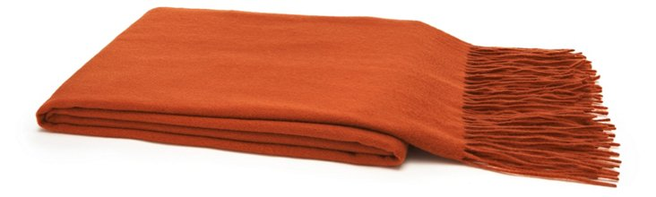 Solid Cashmere Throw, Paprika
