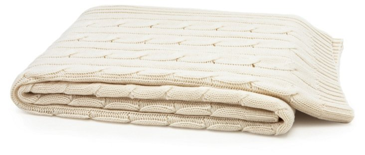 Cable-Knit Cashmere-Blend Throw, Cream