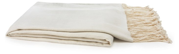 Vibrant Bamboo Throw, Cream