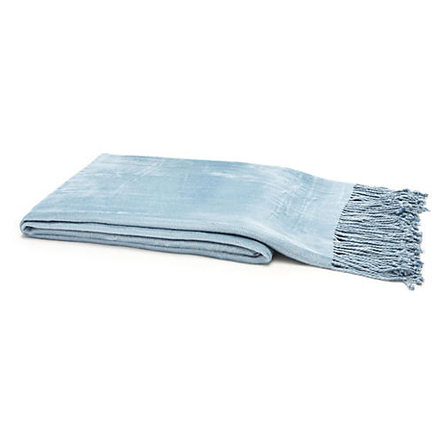 Vibrant Bamboo Throw, Sky Blue