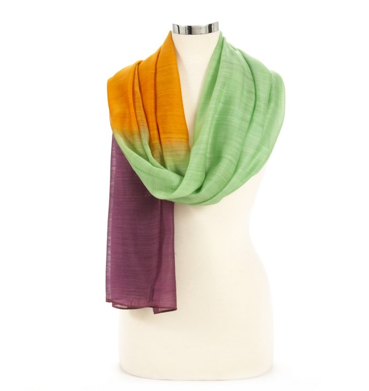 Silk/Wool Ombre Wrap, Violet/Green