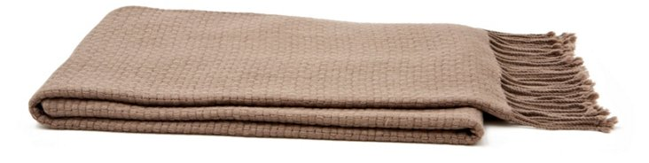 Basketweave Cashmere-Blend Throw, Sand