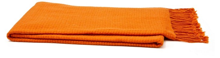 Basketweave Cashmere-Blend Throw, Orange