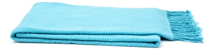 Basketweave Cashmere-Blend Throw, Teal