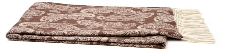 Jacquard Cashmere-Blend Throw, Brown