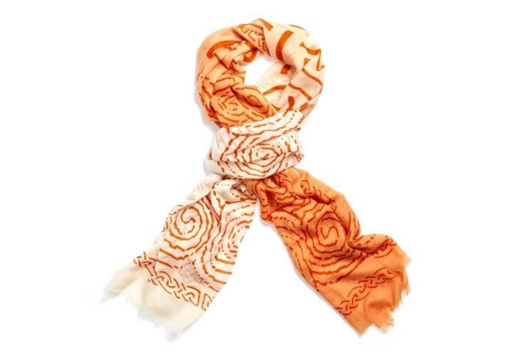 Ombre Wrap, Orange/White