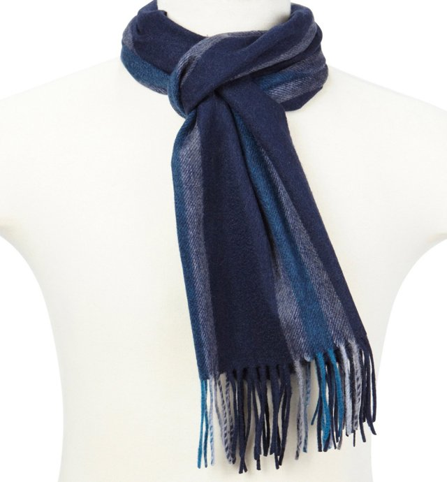 Men's Cashmere Scarf, Navy/Gray