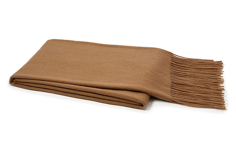 Cashmere-Blended Throw, Camel