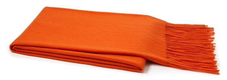 Solid Cashmere-Blend Throw, Orange