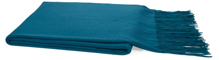 Solid Cashmere-Blend Throw, Blue Spruce