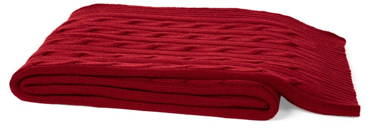 Cable Cashmere-Blend Throw, Claret Red