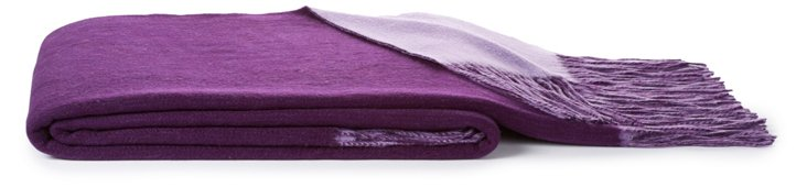 Reversible Cashmere-Blend Throw, Violet