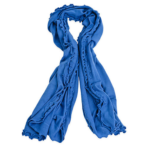 Lettuce Edged Cashmere-Blend Wrap, Blue