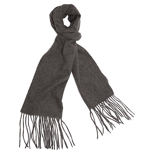 Cashmere-Blend Waterweave Scarf, Gray