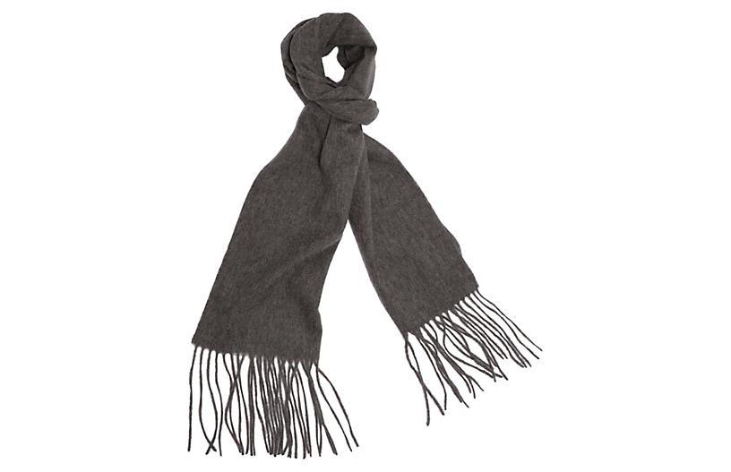 Cashmere-Blend Waterweave Scarf, Gray
